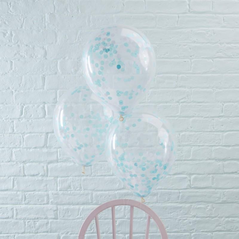 Conj. 5 Balões Confetis Azul