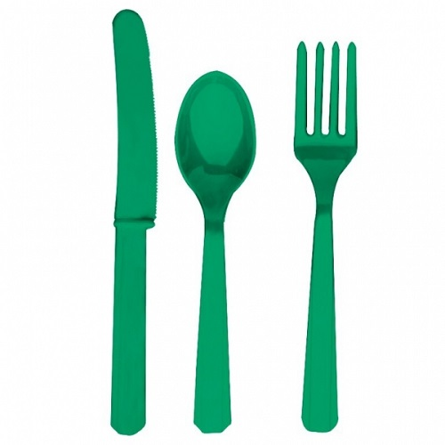 Talheres Plástico Verde Escuro