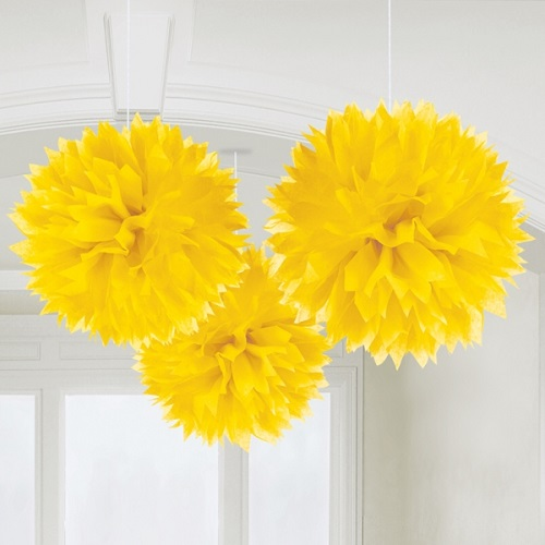 Conj. 3 Pompons Amarelo Grandes