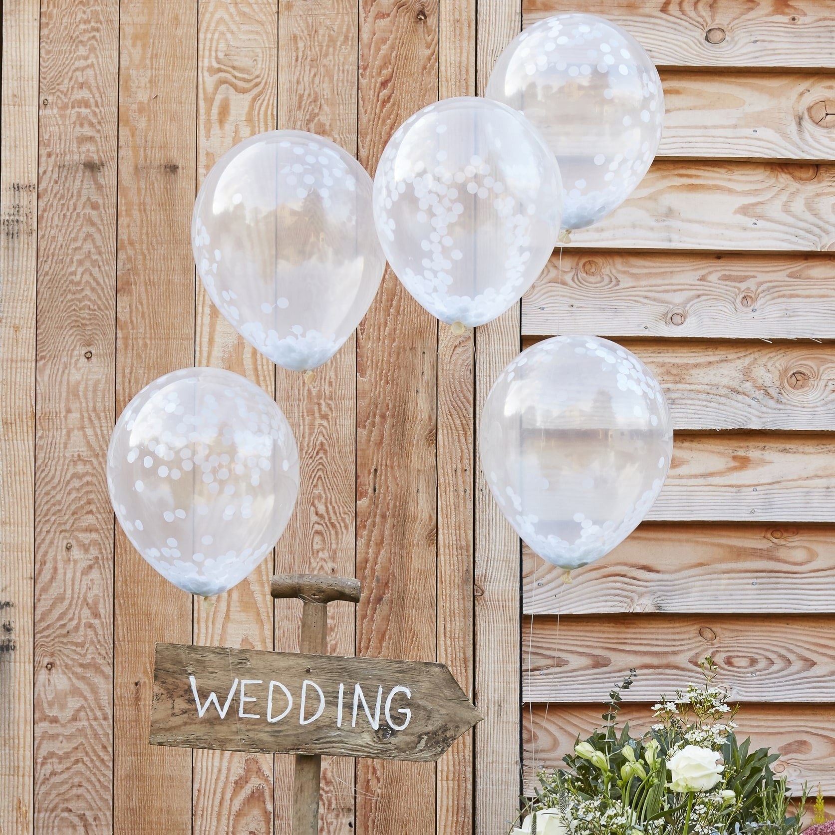 Conj. 5 Balões Confetis Brancos