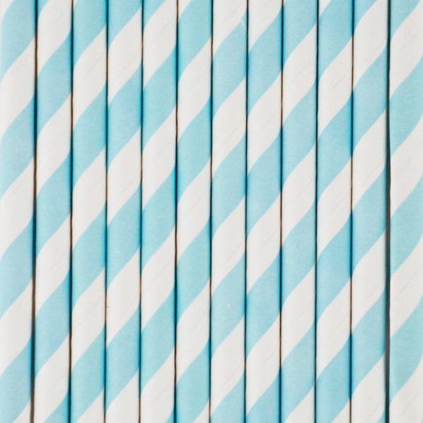 Palhinhas Azul Claro Riscas -  Conj. 10