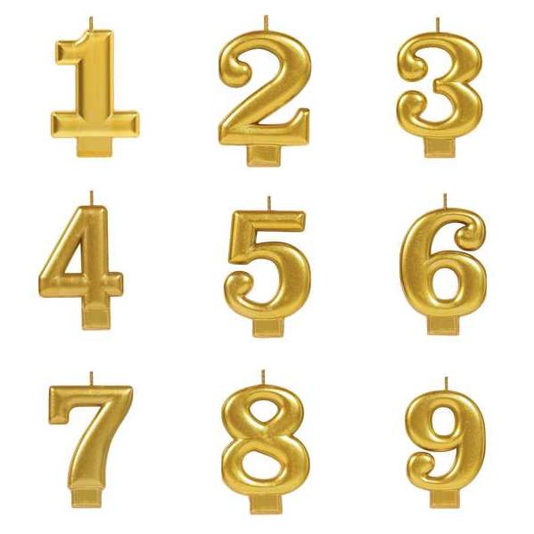 Vela Número Grande Dourado