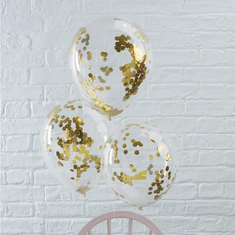 Conj. 5 Balões Confetis Dourados