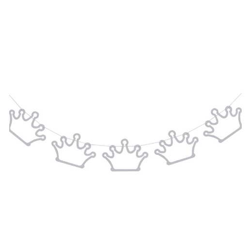 Grinalda Coroas Glitter Prata