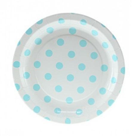 Pratos Azul Claro Bolinhas Pequeno