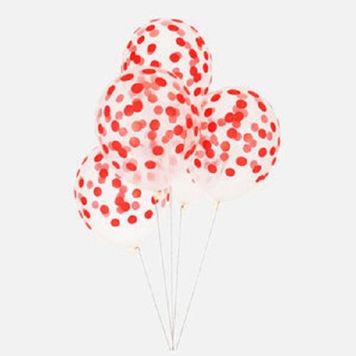 Conj. 5 Balões Confetis Impressos Vermelho