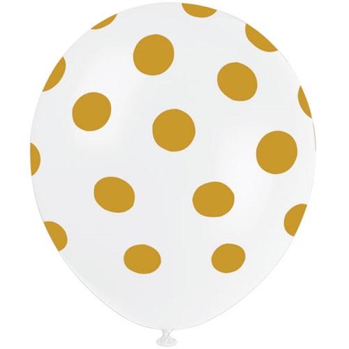 Conj. 6 Balões Brancos Bolinhas Dourado