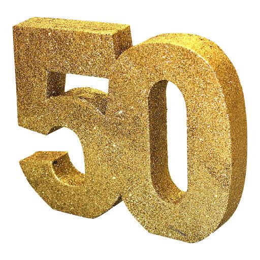 Decoração 50 Glitter Dourado