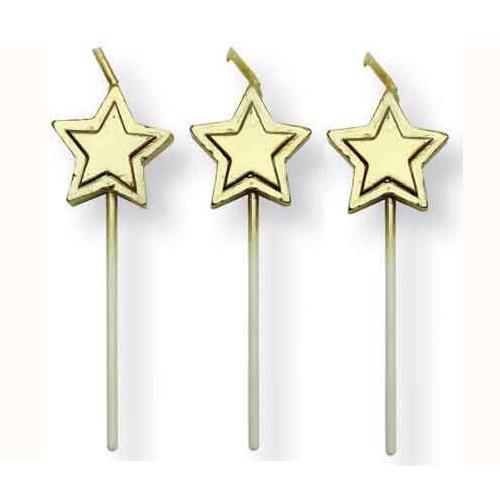Conj. 8 Velas Estrelas Douradas