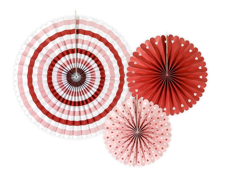 Rosetas Rosa e Vermelho Riscas e Bolinhas - Conj. 3