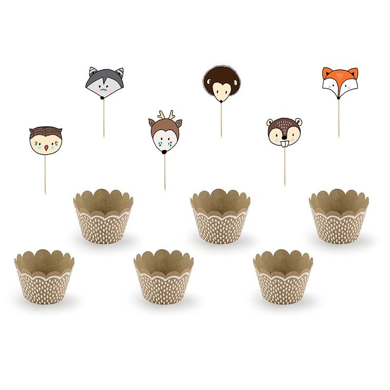 Conj. Cupcakes Animais do Bosque