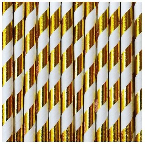 Palhinhas Riscas Dourado Metálico -  Conj. 10