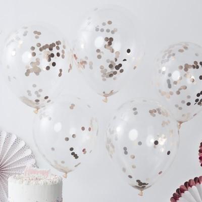 Conj. 5 Balões Confetis Rose Gold