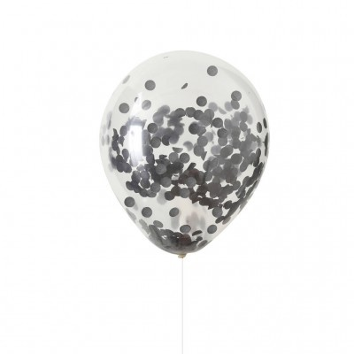 Conj. 5 Balões Confetis Pretos