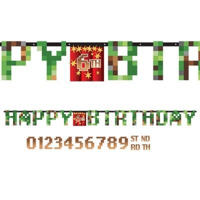 Grinalda Happy Birthday Minecraft Personalizar