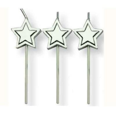 Conj. 8 Velas Estrelas Prateadas