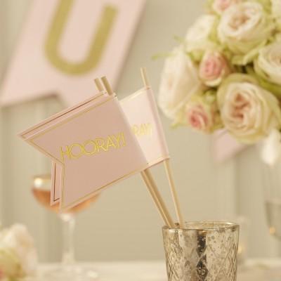 Bandeiras Casamento Rosa e Dourado