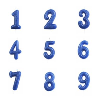 Vela Número Glitter Azul