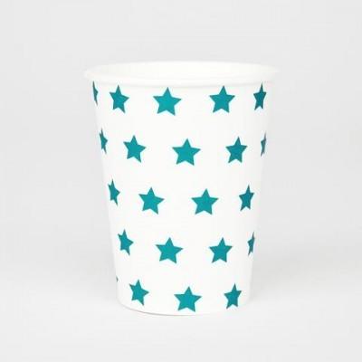 Copos Azul Turquesa Estrelas