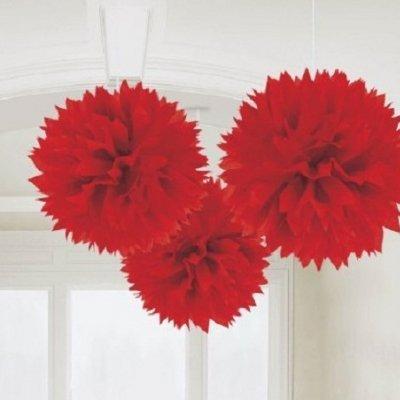 Conj. 3 Pompons Grandes Vermelho