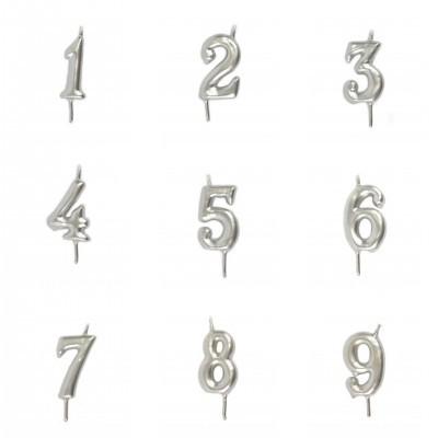 Vela Número Artesanal Prateada