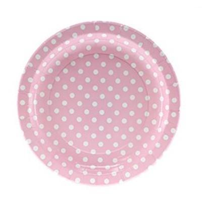 Pratos Rosa Claro Bolinhas Grandes