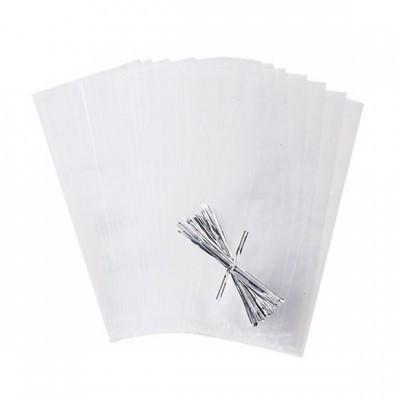 Sacos Transparente c/ Atilhos 12x17cm