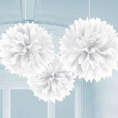 Conj. 3 Pompons Grandes Branco