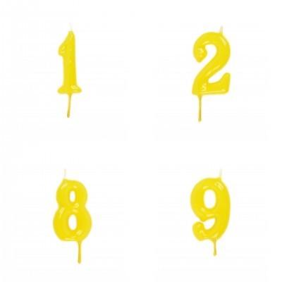 Vela Número Artesanal Amarelo