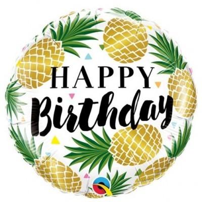 Ananás Balão Happy Birthday Dourado