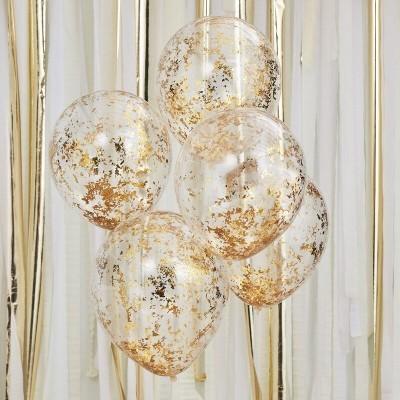 Conj. 5 Balões Confetis Dourados Papelinhos