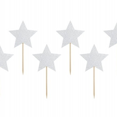 Toppers Estrelas Prateadas Glitter