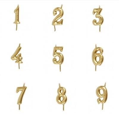 Vela Número Artesanal Dourada