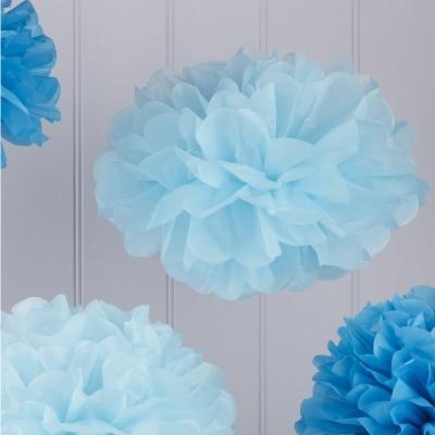 Conj. 5 Pompons Azul e Azul Claro