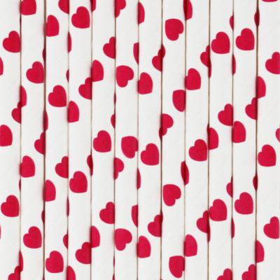 Palhinhas Vermelho Corações -  Conj. 25
