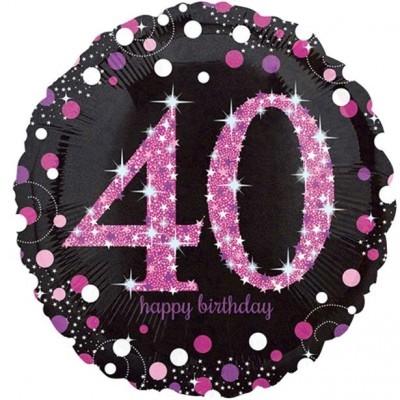Balão Sparkle Rosa 40 Médio
