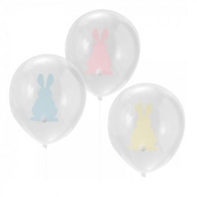 Conj. 9 Balões Coelhos Pompom