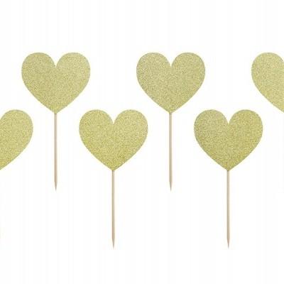 Toppers Corações Dourados Brilhantes