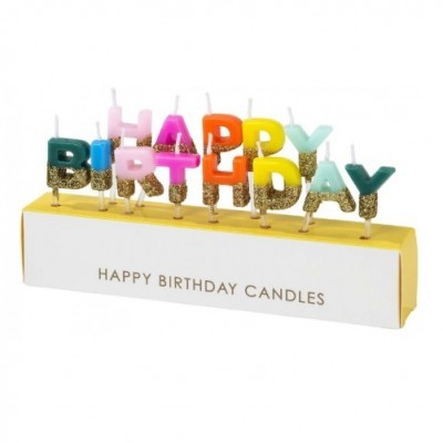 Velas Happy Birthday Rainbow Gold