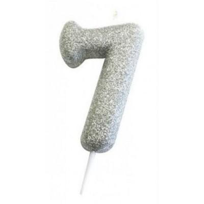 Vela Número Glitter Prateado
