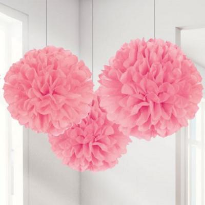Conj. 3 Pompons Grandes Rosa Claro
