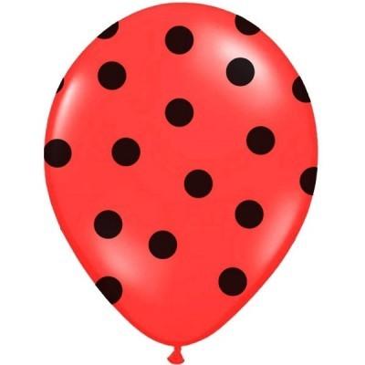 Conj. 6 Balões Vermelhos Bolinhas Pretas
