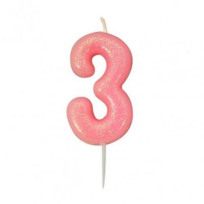 Vela Número Glitter Rosa