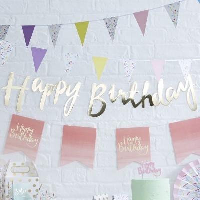 Grinalda Happy Birthday Dourado