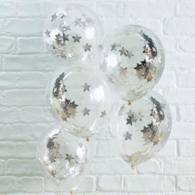 Conj. 5 Balões Confetis Prateados Estrelas