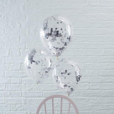 Conj. 5 Balões Confetis Prateados