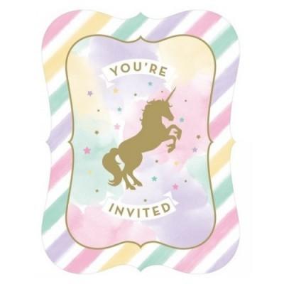 Convites Unicórnios Dourado