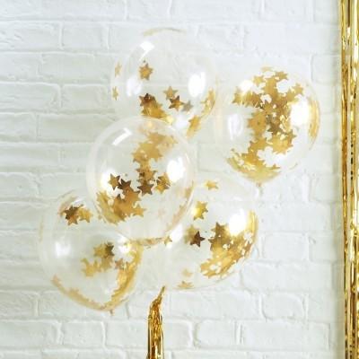 Conj. 5 Balões Confetis Dourados Estrelas