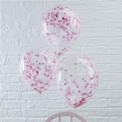 Conj. 5 Balões Confetis Rosa