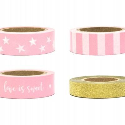 Washi Tape Rosa e Glitter Dourado